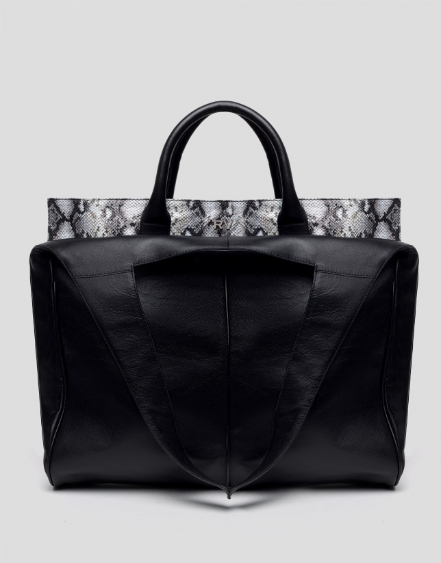 Leather, snakeskin-print, Harriet shopping bag