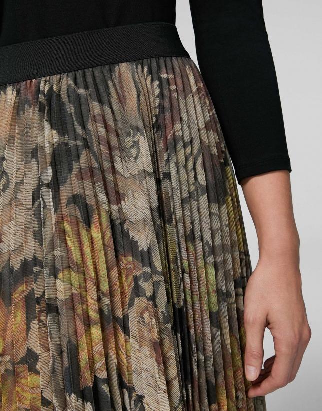 Beige floral print, long pleated skirt