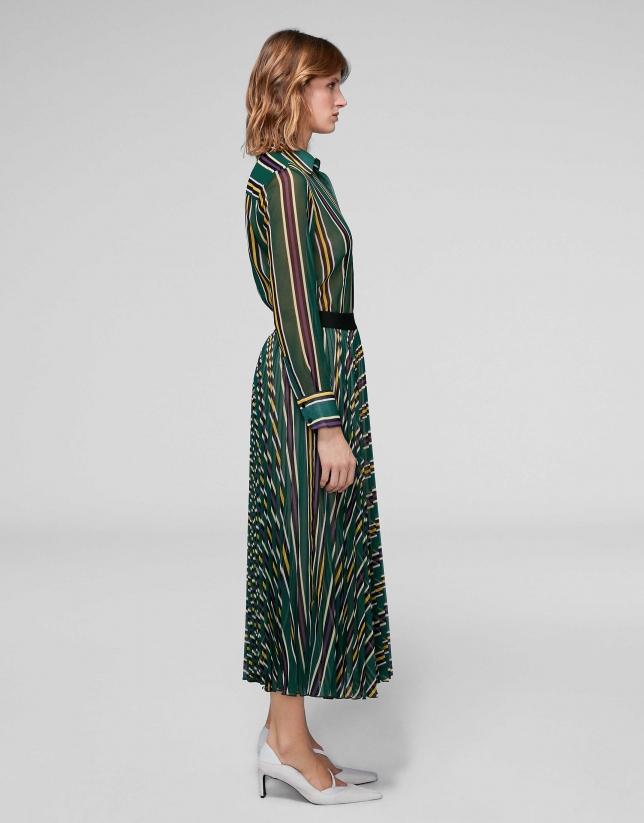 Falda larga plisada estampado rayas verdes