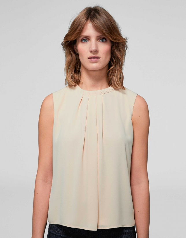 Beige top with folds