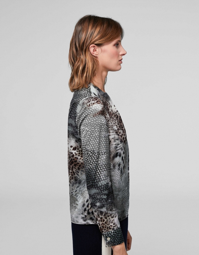 Animal print shirt with folds at neckline