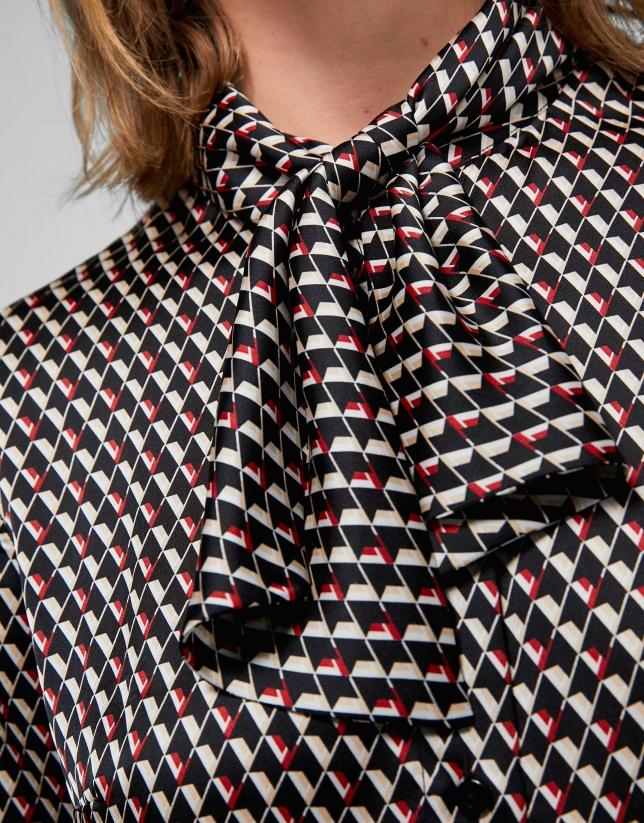 Chemise à imprimé géométrique rouge et noir