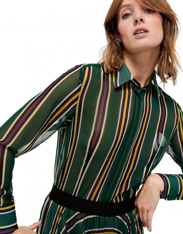 Chemise verte à manches longues imprimée de rayures