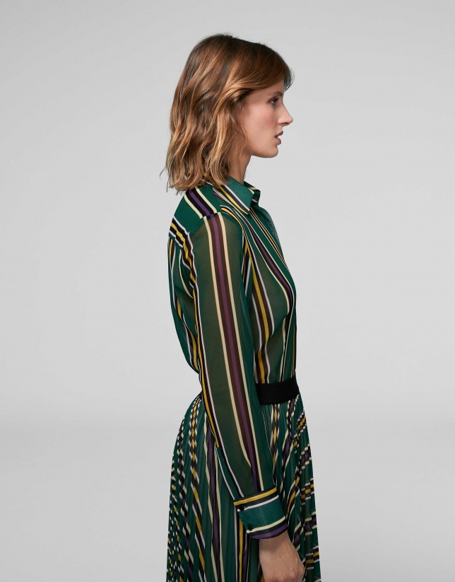 Green striped shirt with long sleeves
