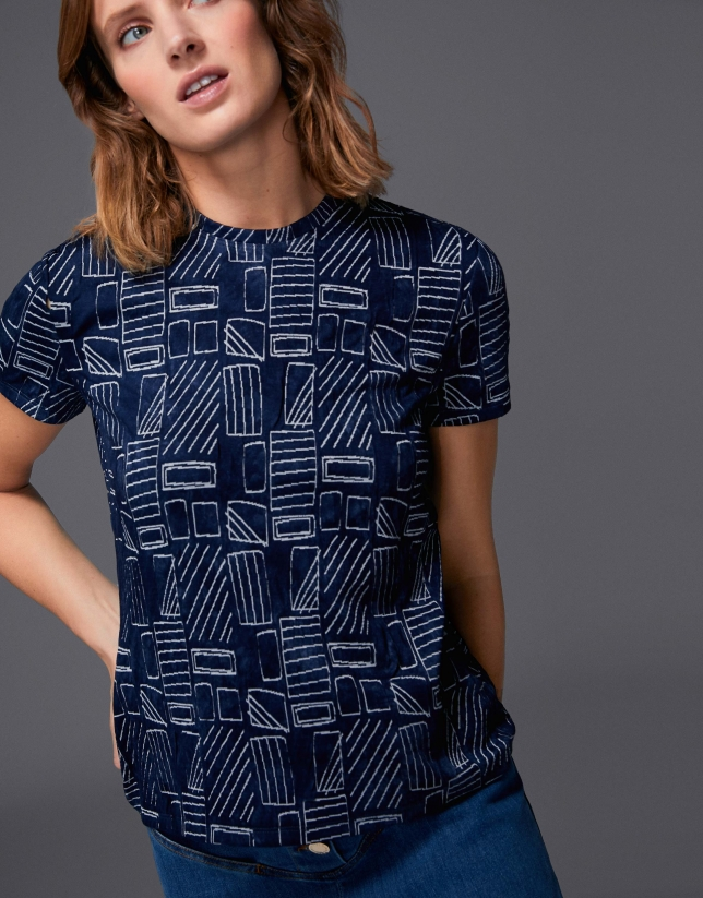 Top with blue geometric print