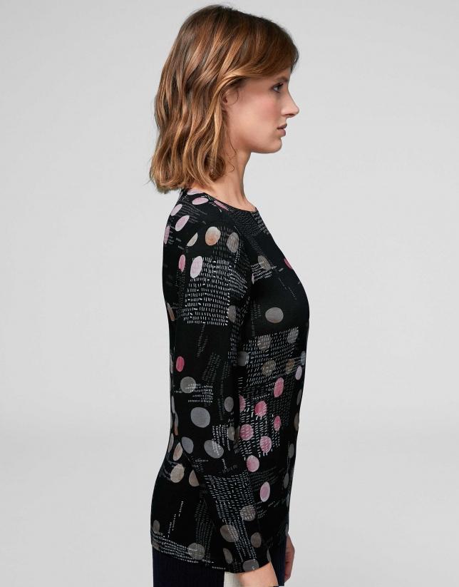 Black jacquard knit top