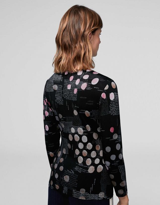 Camiseta punto jacquard tonos negros