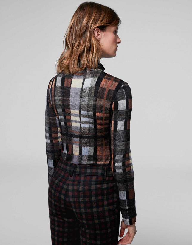 Brown checked knit top