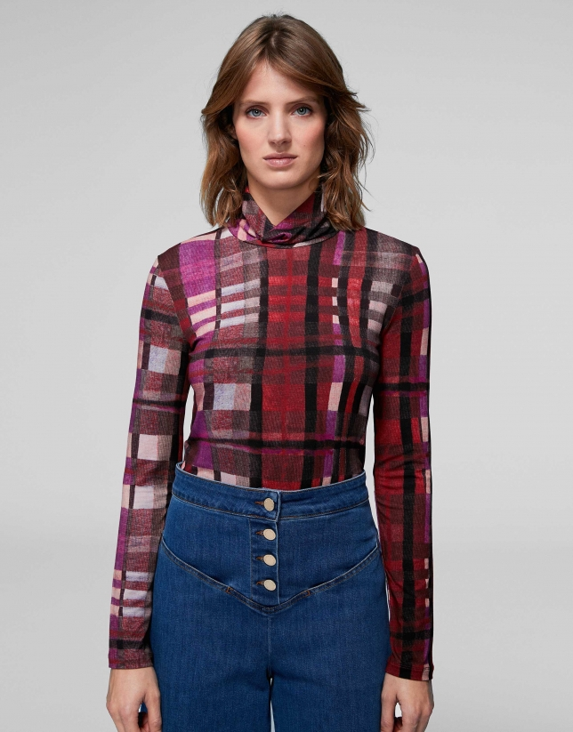 Pink checked knit top