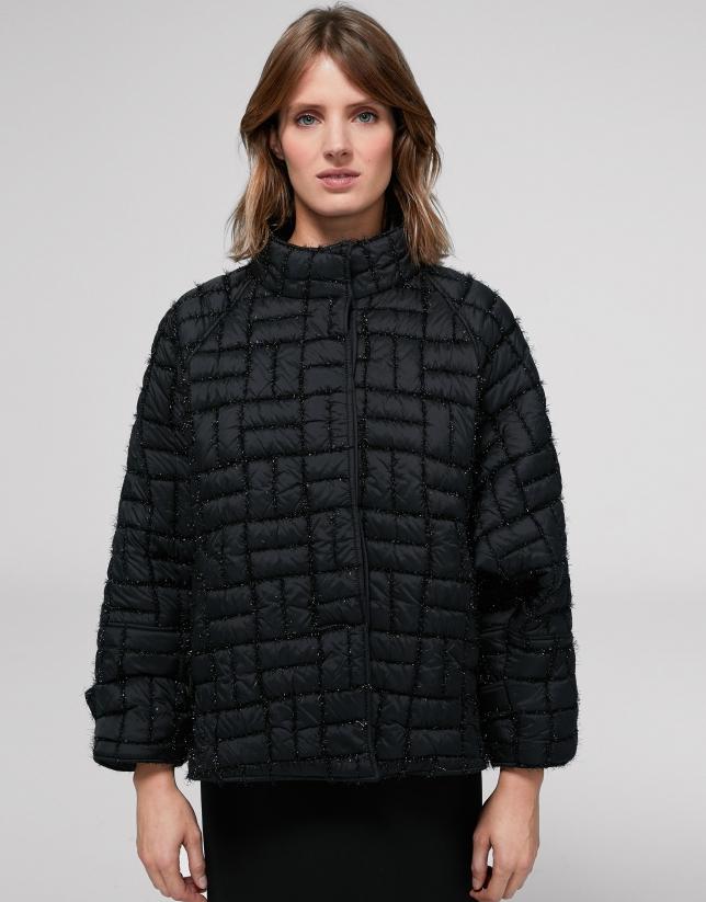 Short black quilted jacket