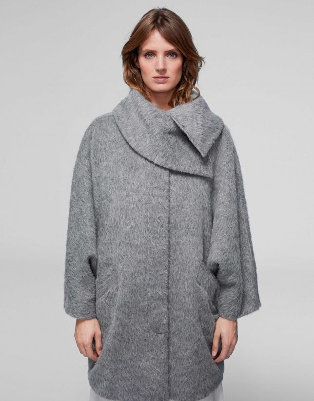 Abrigo paño lana/alpaca/mohair gris
