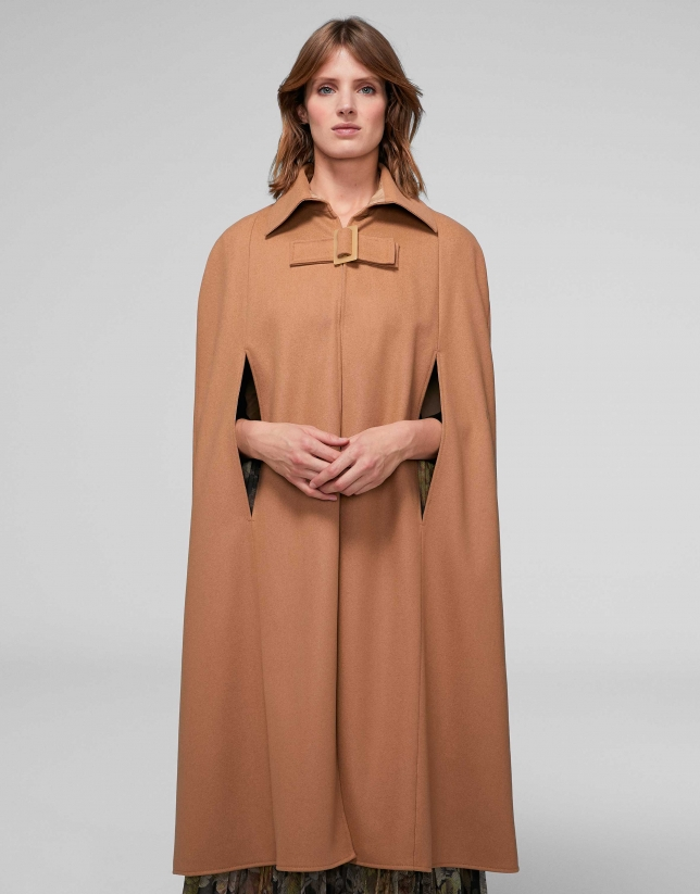 Reversible camel cape coat