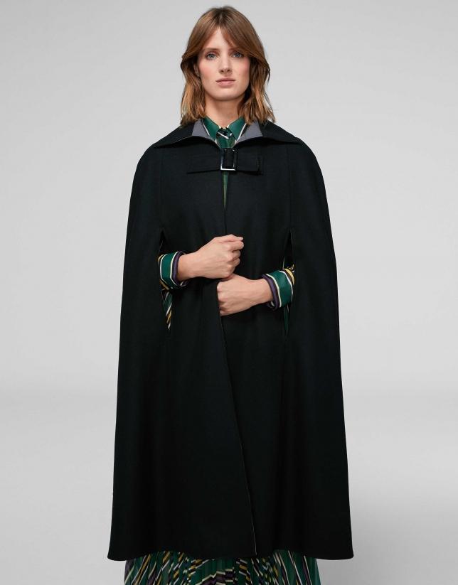 Reversible black cape coat