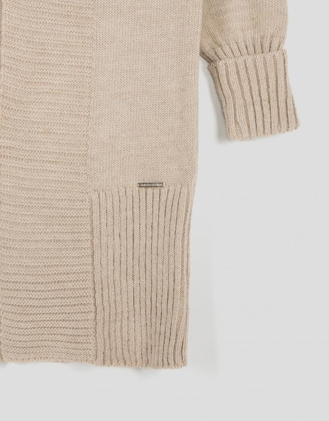 Veste longue en laine/alpaga écrue