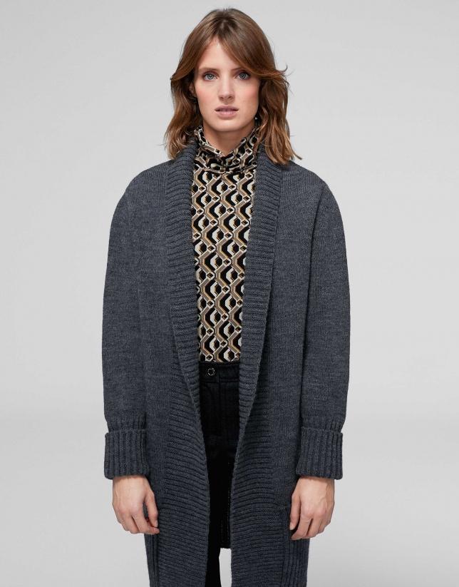 Veste longue en laine/alpaga gris