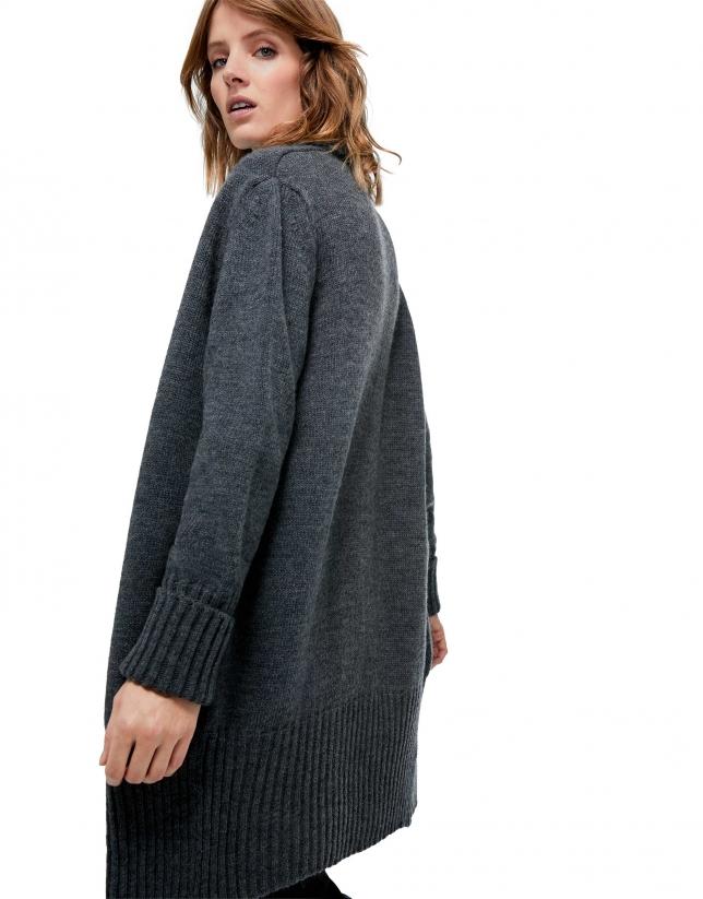Veste longue en maille gris