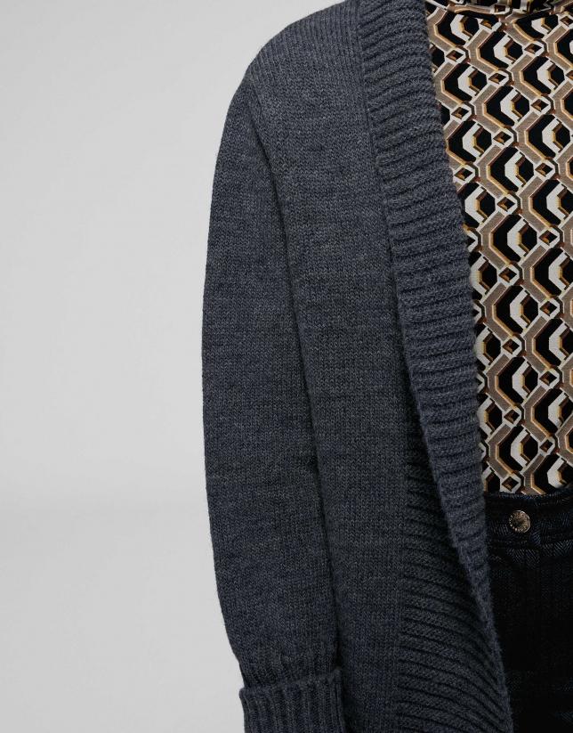 Long grey woll/alpaca jacket