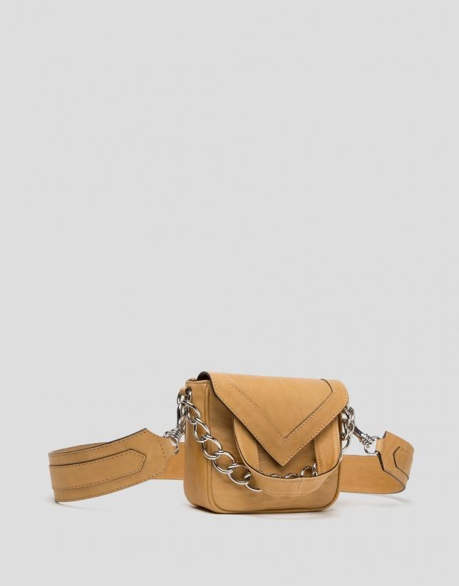 Mini sac à bandoulière Claude en cuir couleur moustarde