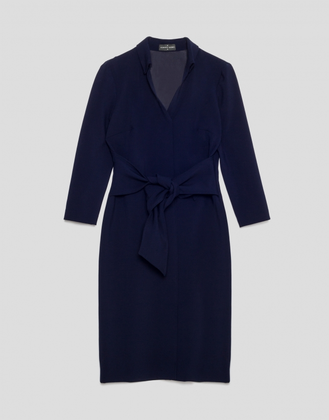 Blue shirtwaist dress with bow