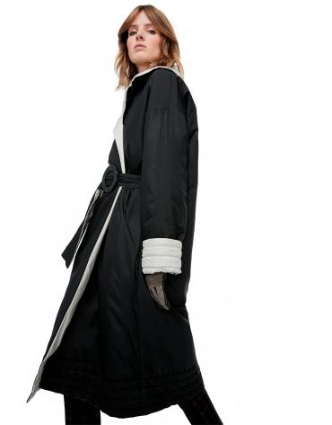 Manteau longue matelassé réversible noire/gris