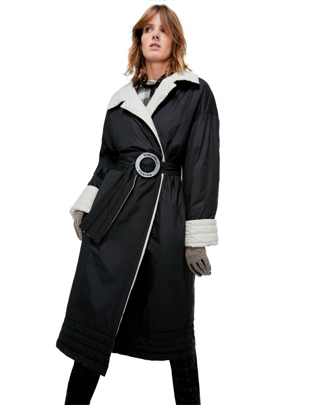 Long black, oversize down jacket