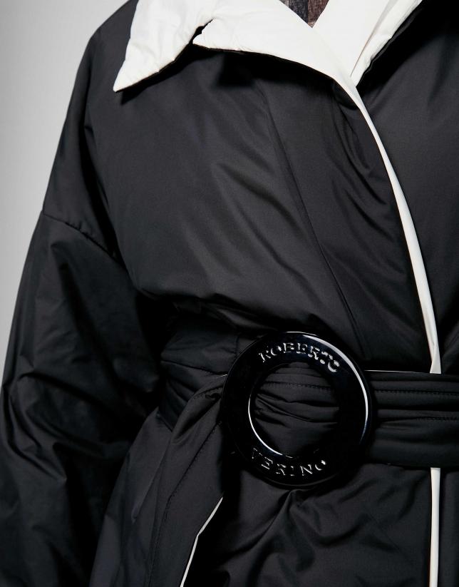 Abrigo largo acolchado reversible negro/gris