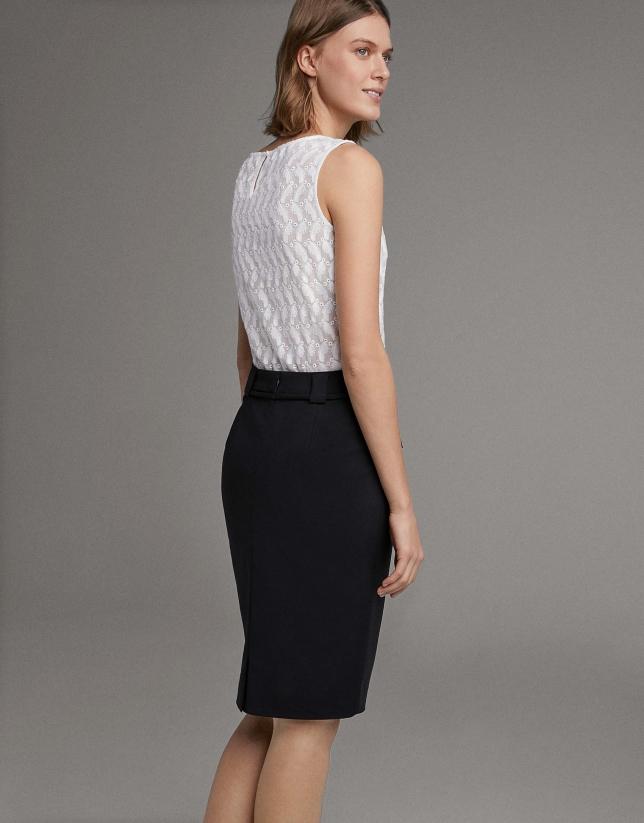 Falda midi negra con lazo en cintura