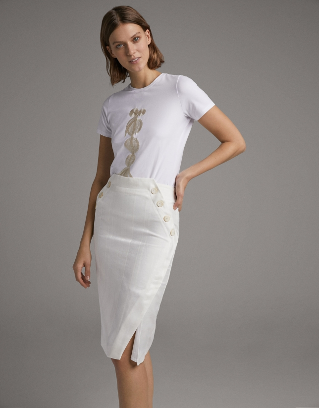 Ivory asymmetric skirt with buttons
