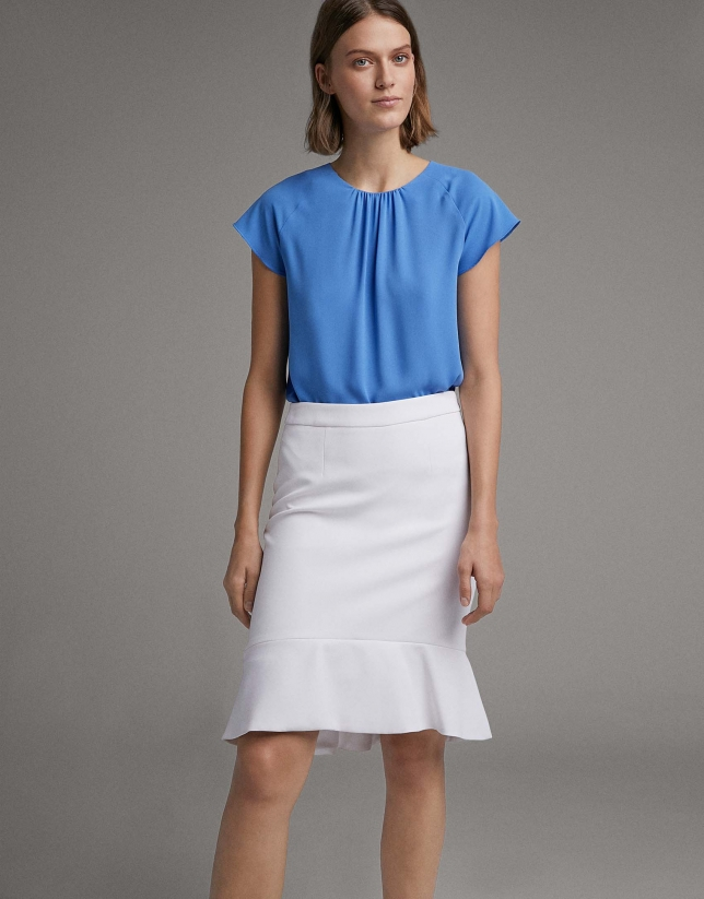 White short skirt with flare