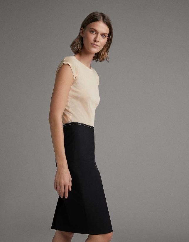 Falda lápiz negra con cinta grosgrain