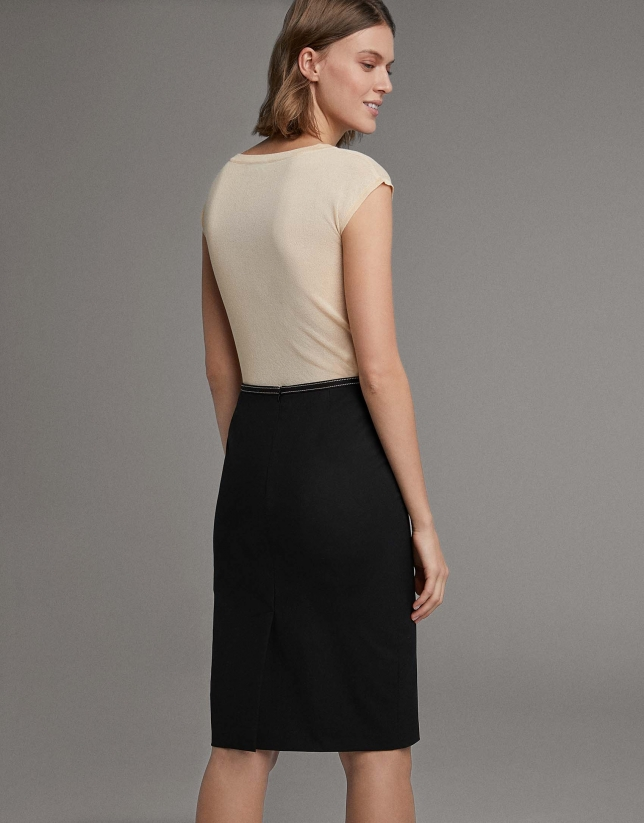 Black pencil skirt with grosgrain ribbon