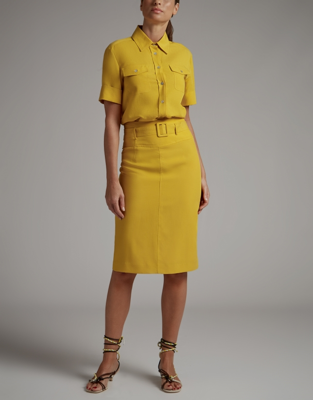 Gold midi skirt with belt