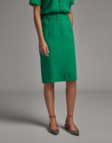 Green midi skirt with belt