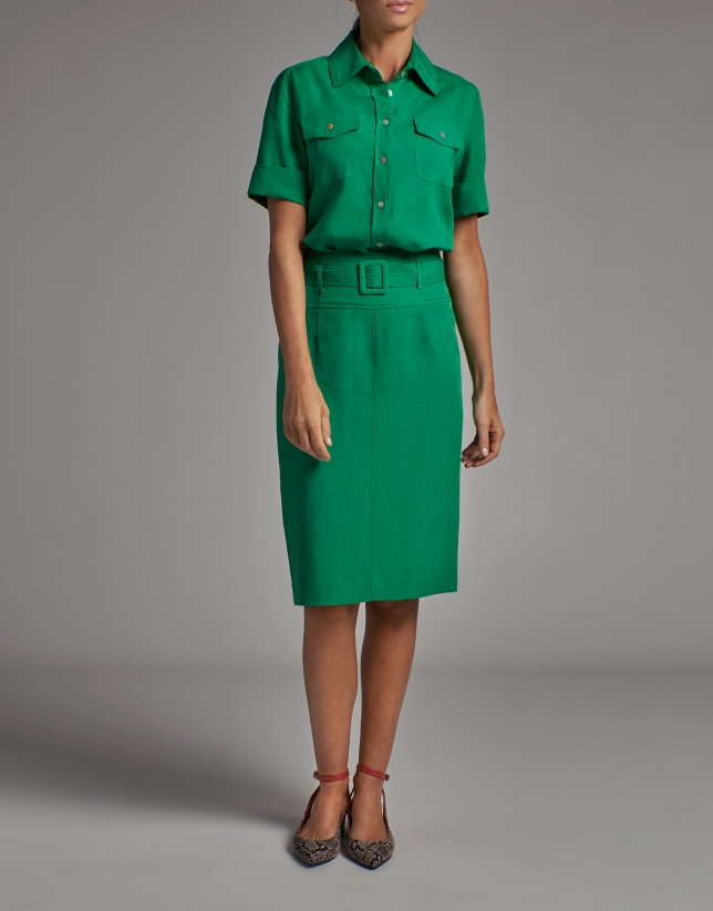 Green midi skirt with belt