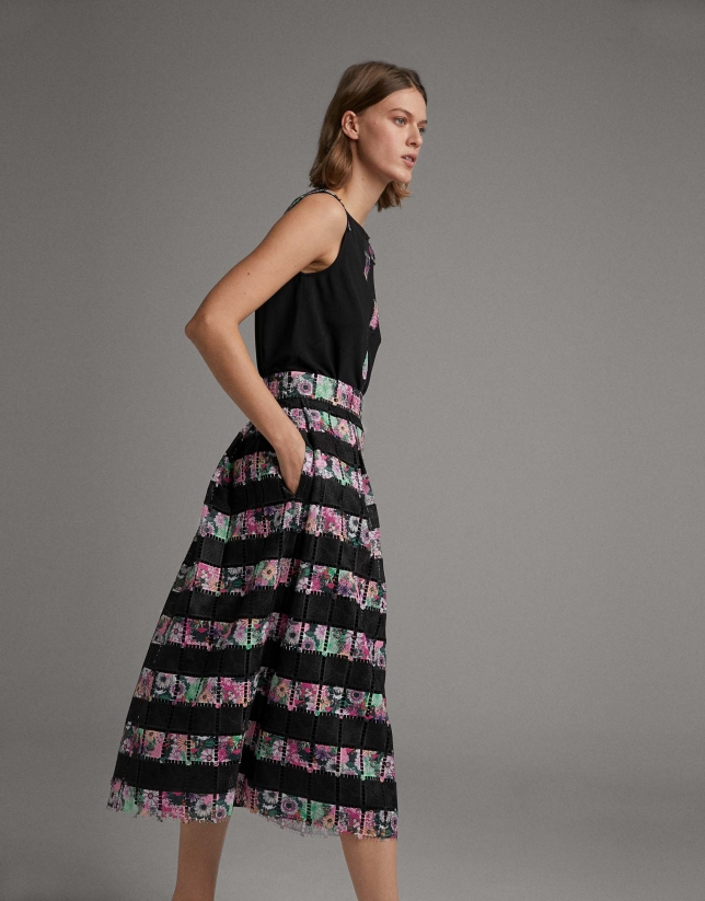 Long black skirt with colored lace