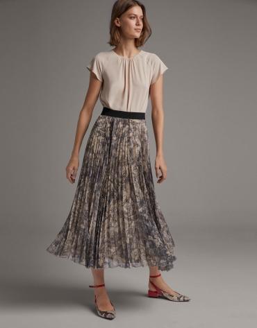 Falda larga plisada estampado visón