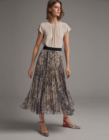 Mink long pleated print skirt
