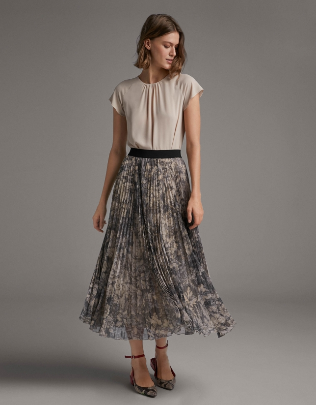 Mink long pleated print skirt