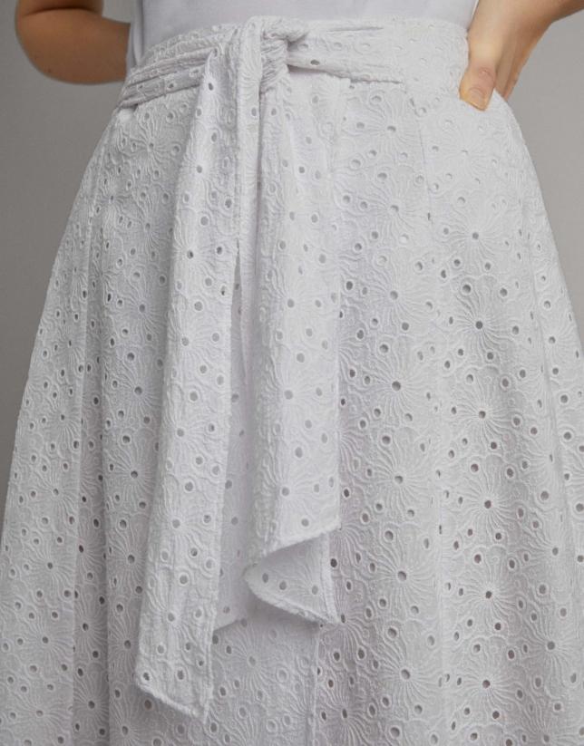 Midi wrap skirt with white bow