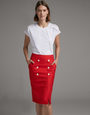 Red wrap skirt with white buttons