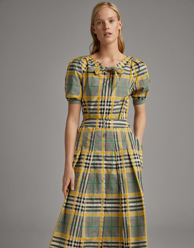 Long glen plaid skirt