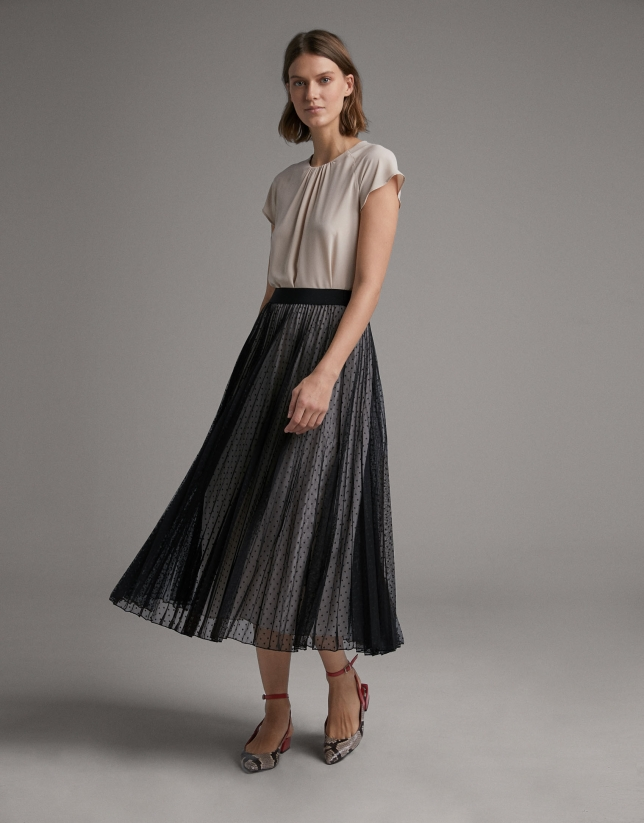 Long pleated tulle skirt with dots