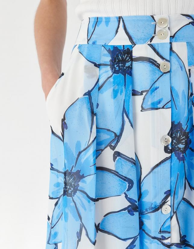 Falda con vuelo estampado floral grande