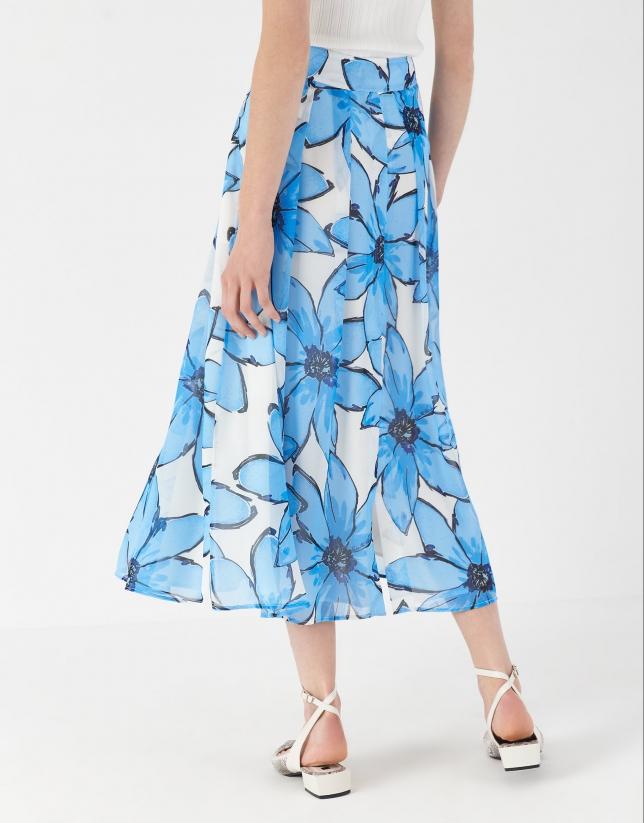 Blue floral print skirt with flounce