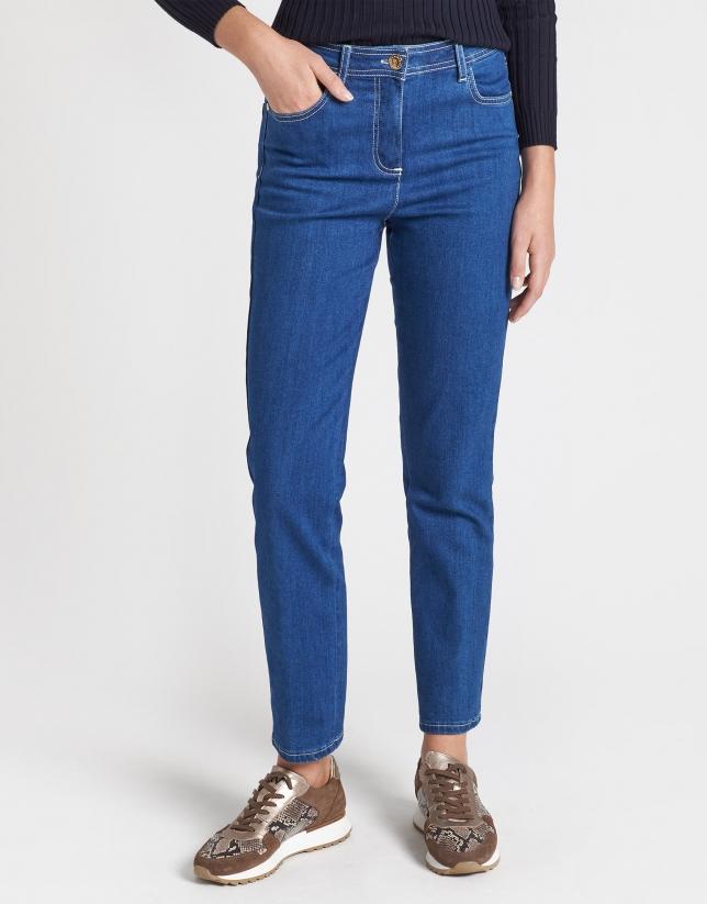Pantalón vaquero recto azul