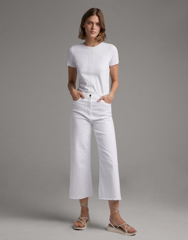 Pantalón vaquero pierna ancha blanco
