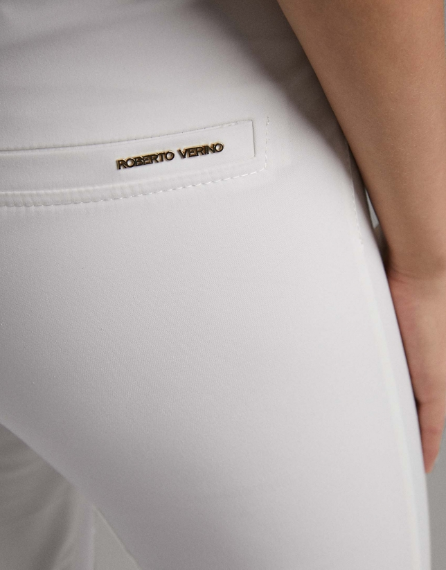 Ivory cigarette pants with high waist