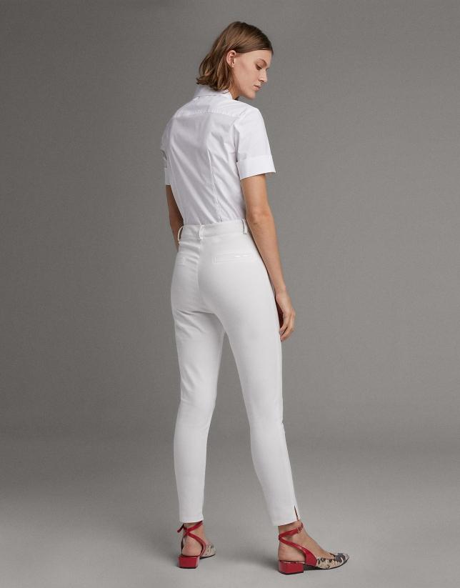 Pantalón pitillo cintura alta ivory