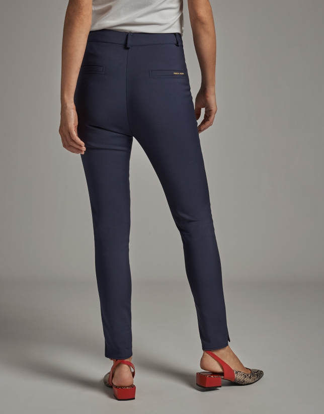 Navy blue cigarette pants with high waist