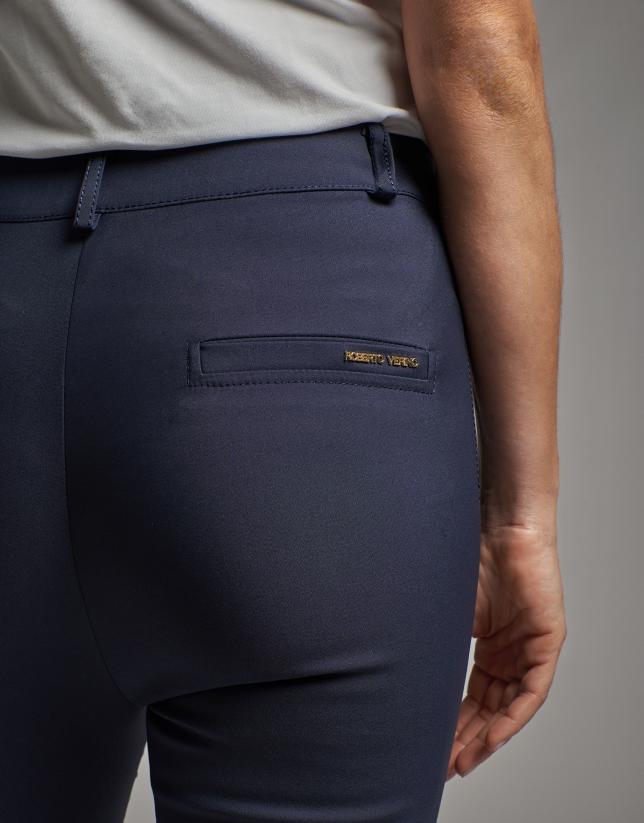 Pantalón pitillo cintura alta marino